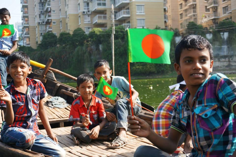 Celebrating independence day in Dhaka, Bangladesh.
